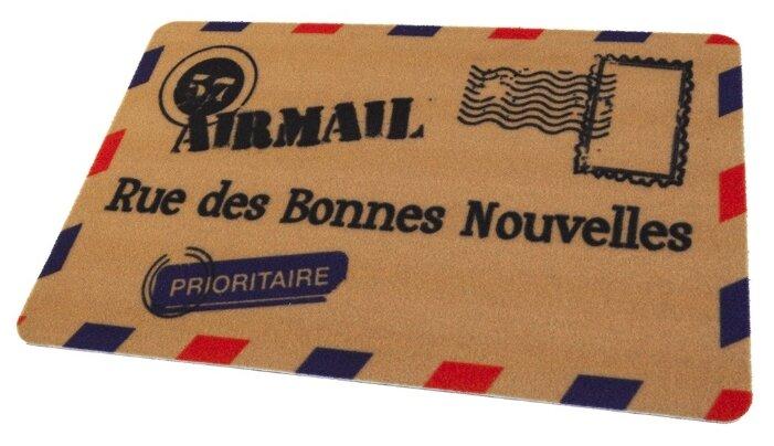 Придверный коврик RemiLing Конверт, размер: 0.68х0.45 м, бежевый/синий/красный