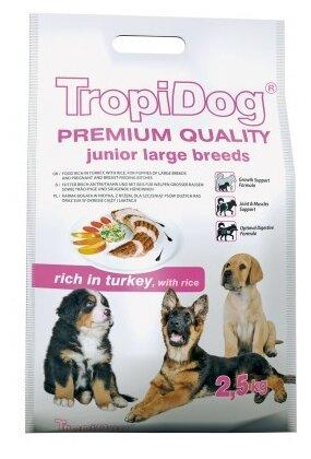 Корм для щенков TropiDog индейка с рисом (для крупных пород)