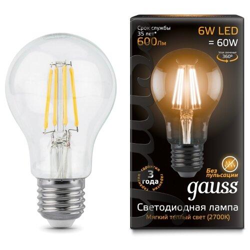 Лампа светодиодная gauss 102802106, E27, A60, 6Вт упаковка светодиодных ламп 10 шт gauss 102802106 e27 a60 6вт