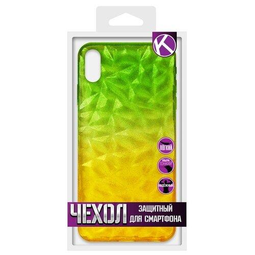 Krutoff / Накладка силиконовая Crystal Krutoff для iPhone XS Max (Айфон ИксС Макс) желто-зеленая