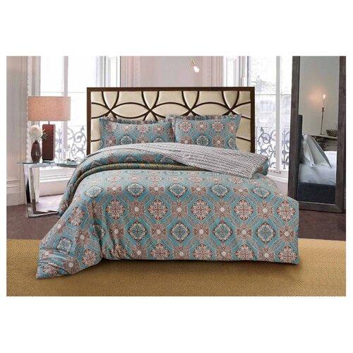 Постельное белье 1.5-спальное Selena Paisley Восточный сон, сатин бежевый/голубой