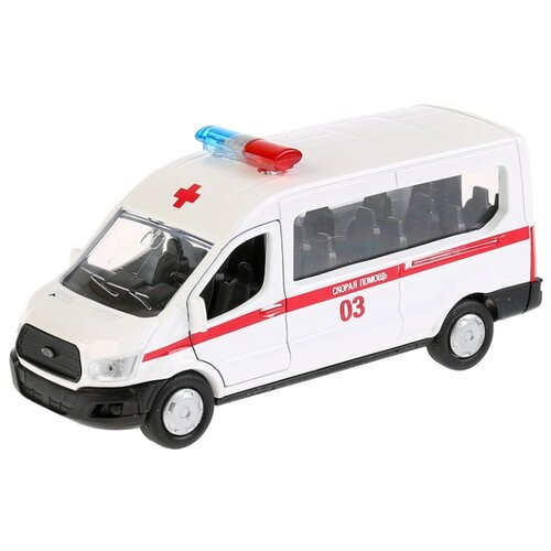 Купить Микроавтобус ТЕХНОПАРК Ford Transit Скорая помощь (SB-18-18-A-W-WB/SB-18-18-A-Y-WB) 12 см белый, Машинки и техника