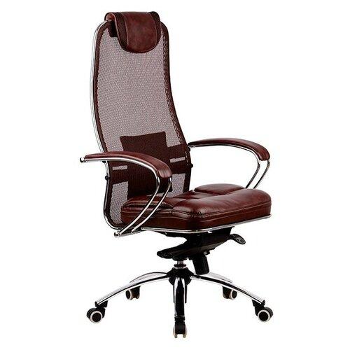 Компьютерное кресло Метта SAMURAI SL-1 для руководителя, обивка: текстиль/искусственная кожа, цвет: темно-коричневый компьютерное кресло метта bp 2 pl офисное обивка натуральная кожа цвет 721 черный