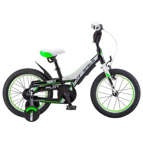 Детский велосипед STELS Pilot 180 18 V010 (2018) черный/зеленый (требует финальной сборки)
