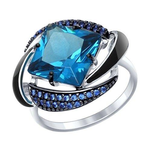 SOKOLOV Кольцо из серебра с эмалью с синим ситаллом и синими фианитами 92011300, размер 17