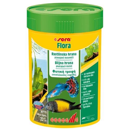 Сухой корм для рыб Sera Flora растительный в хлопьях 100 мл 22 г sera sera fd mixpur корм для рыб сублимированный мотыль трубочник дафния криль 100 мл