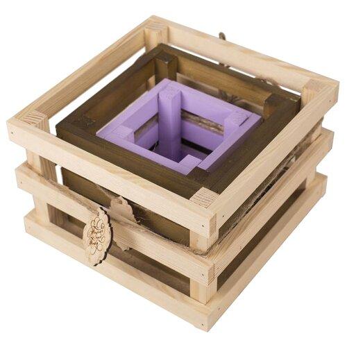 Ящик Дарите счастье набор 3в1 Поздравляю 10×10×10, 15×15×11, 20×20×13 см серый/коричневый/сиреневый