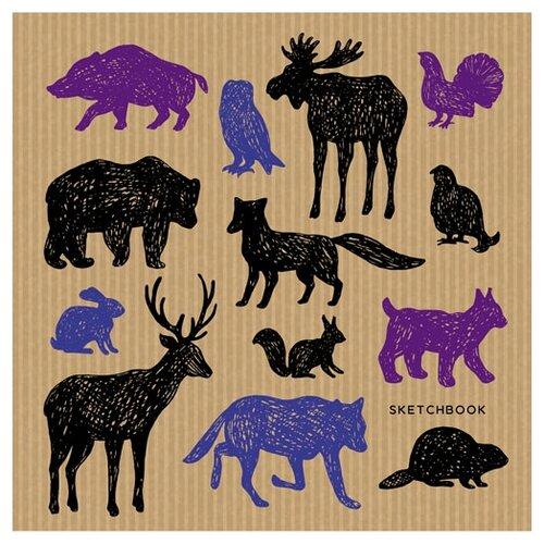 Купить Скетчбук Канц-Эксмо Paper Art Яркие наброски. Животные 19.5 х 19.5 см, 100 г/м², 80 л., Альбомы для рисования