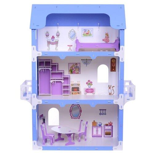 Купить KRASATOYS Коттедж Екатерина 000262, бело-синий, Кукольные домики