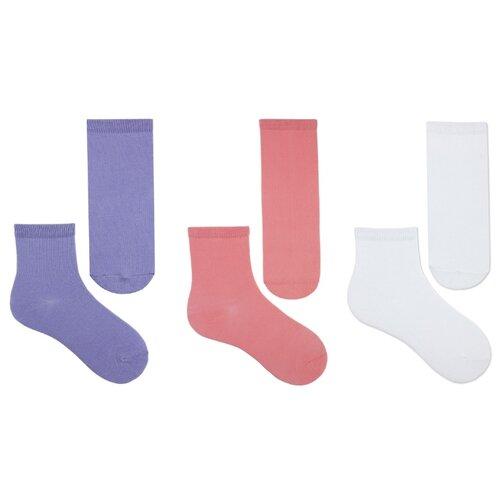 Купить Носки НАШЕ комплект из 3 пар, размер 14 (12-14), белый/сирень/коралл