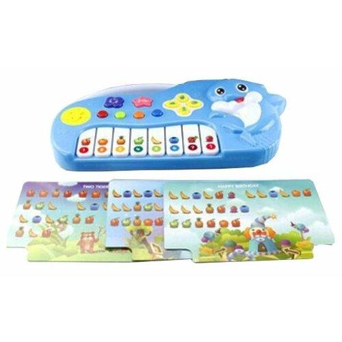 Купить Shantou Gepai пианино Дельфин с нотными карточками ZZ1401B голубой, Детские музыкальные инструменты