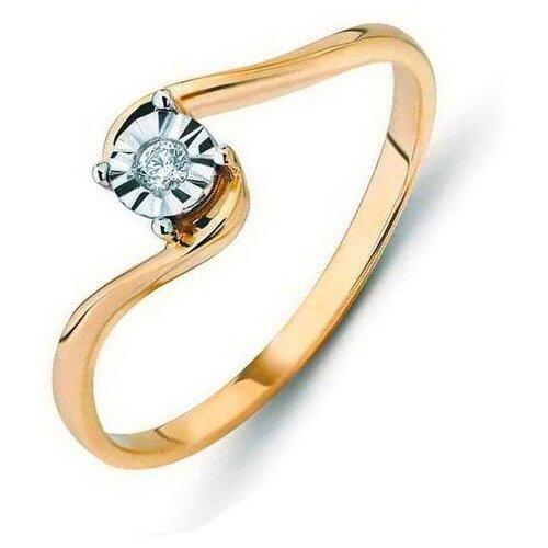 ЛУКАС Кольцо с 1 бриллиантом из красного золота R01-D-R300069DIA, размер 17 кольцо из золота r01 d r306443sap