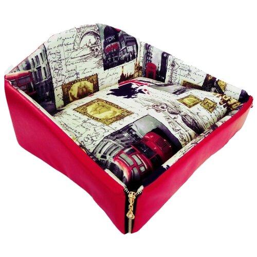 Лежак для собак и кошек LOORI С замками Z9927 45х35х24 см с принтом
