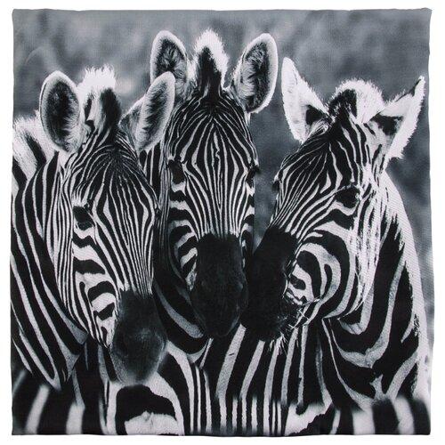 Чехол для подушки Gift'n'Home Три зебры 40х40 см (НВЛ-40 Zebra-3(g)) черный / белый