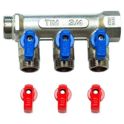 Коллектор проходной запорный Tim (MV-3/4-N-3) 3/4 НР-ВР, 3 отвода 1/2 евроконусКоллекторы<br>