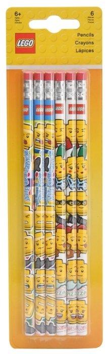 LEGO Набор чернографитных карандашей Iconic 6 шт с ластиком (51140)