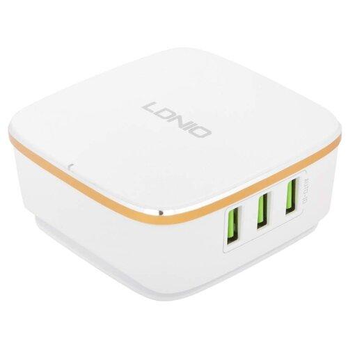Сетевая зарядка LDNIO A6704 белый / золотистыйЗарядные устройства и адаптеры<br>
