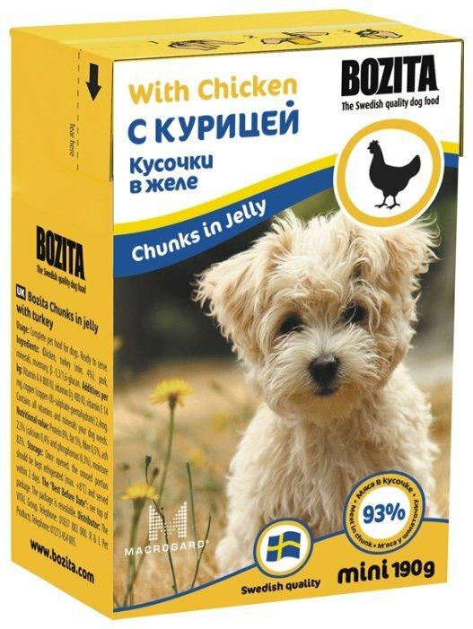 Корм для щенков Bozita Mini курица 16шт. х 190г