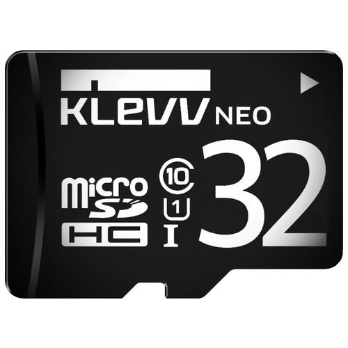 Карта памяти KLEVV microSDHC Class 10 UHS-I U1 32GB + SD adapterКарты памяти<br>
