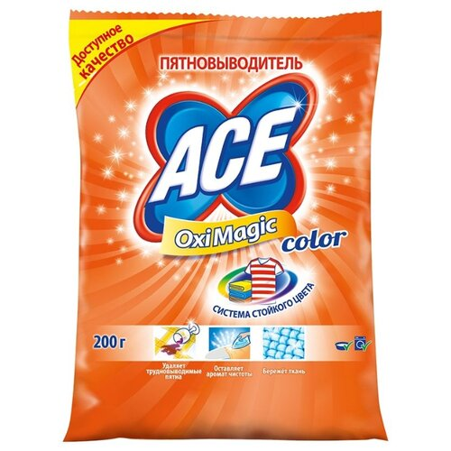 Ace Пятновыводитель Oxi Magic Color 200 г пакетОтбеливатели и пятновыводители<br>