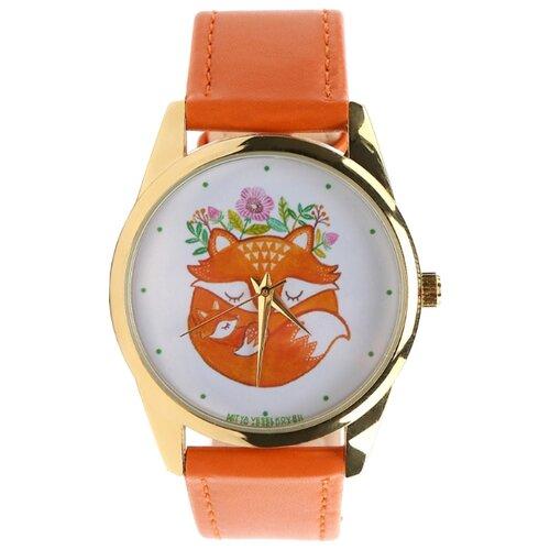 Наручные часы Mitya Veselkov Лиса и лисенок спят золотистые (оранжевый) (Color-136) часы наручные mitya veselkov обратный циферблат gold