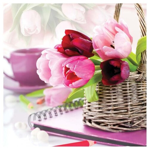 Купить Белоснежка Набор для вышивания Тюльпаны в корзине 50 x 50 см (7030-3D), Наборы для вышивания