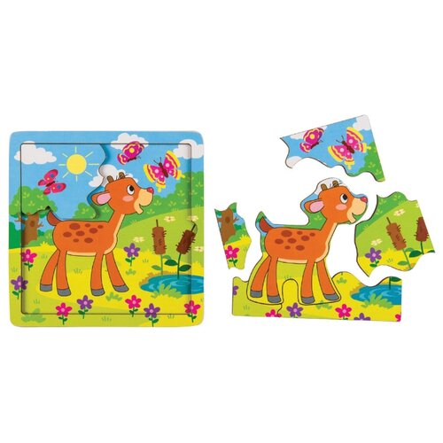 Фото - Рамка-вкладыш Step puzzle Baby Step Оленёнок (89070), 7 дет. рамка вкладыш step puzzle baby step мышонок 89069 7 дет