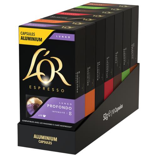 Набор кофе в капсулах L'OR (Delizioso, Forza, Elegante, Estremo, Profondo, Ristretto, Splendente) (70 капс.) легалон 70 30 капс