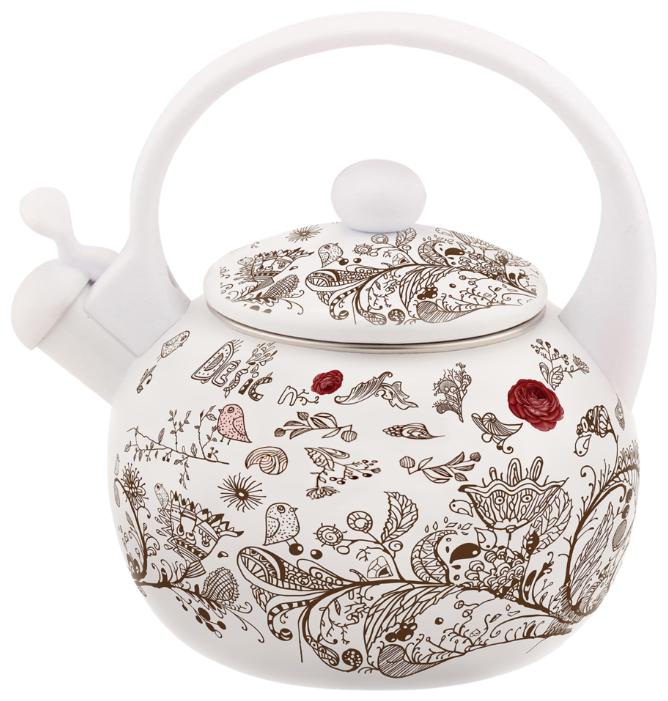 Чайник эмалированный Kelli KL-4436, цвет: белый, 2,5 л