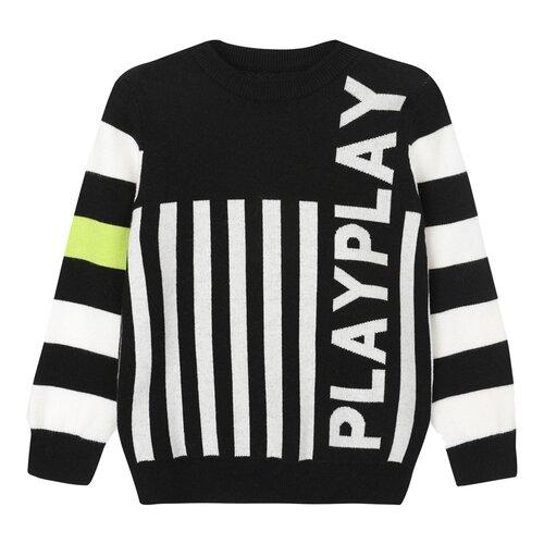 Купить Джемпер playToday размер 116, черный/желтый/белый, Свитеры и кардиганы
