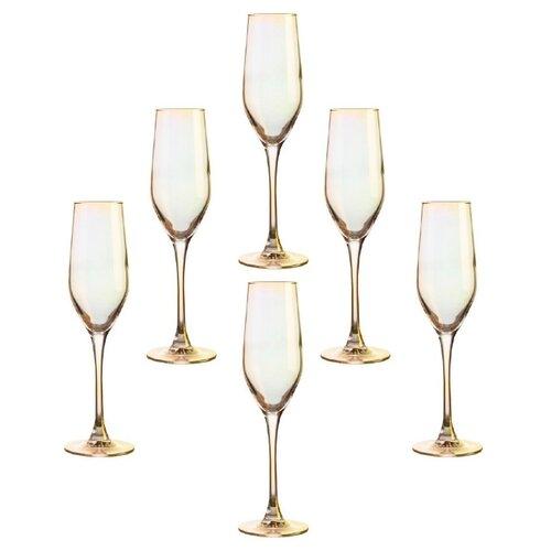 цена на Luminarc Набор фужеров для шампанского Celeste P1636 6 шт., 160 мл золотистый хамелеон