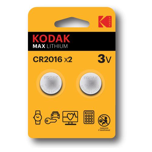Батарейка Kodak CR2016 для брелков сигнализаций, 2 шт.