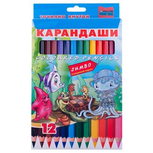 Купить Hatber цветные карандаши Jumbo Морская семейка, 12 цветов (BKd_12210), Цветные карандаши