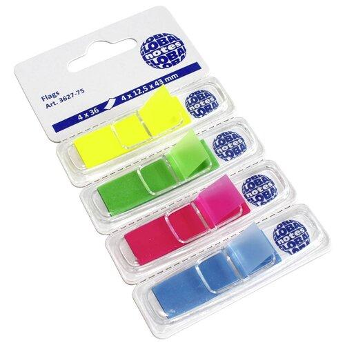 Global Notes блок-закладка с липким слоем 4 цвета по 36 л, 12,5х43 мм (3627-82/3627-75) желтый/зеленый/розовый/голубой