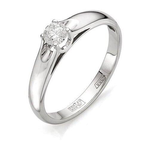 Мастер Бриллиант Кольцо с 1 бриллиантом из белого золота 1-105-392, размер 17