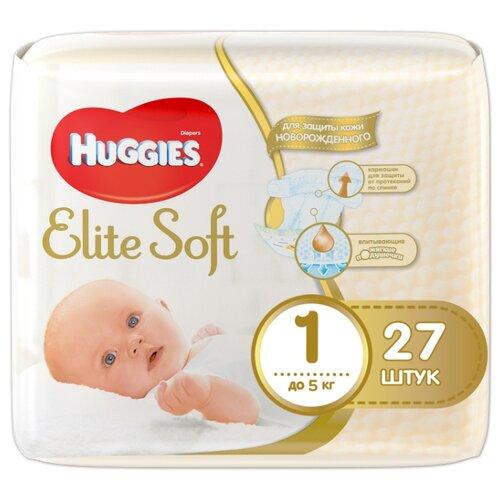 Купить Huggies подгузники Elite Soft 1 (до 5 кг) 27 шт., Подгузники