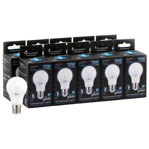 Упаковка светодиодных ламп 10 шт gauss 102502210, E27, A60, 10Вт упаковка светодиодных ламп 10 шт gauss 53210 e27 10вт
