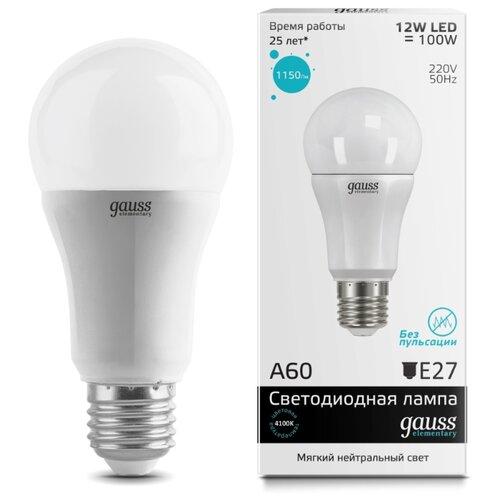 Лампа светодиодная gauss 23222, E27, A60, 12Вт лампа светодиодная gauss 23219 e27 a60 20вт