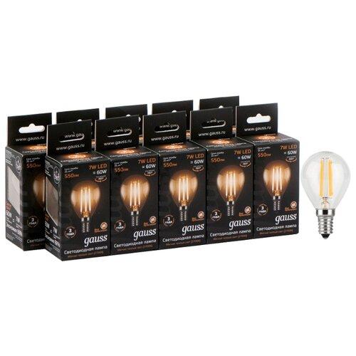 Упаковка светодиодных ламп 10 шт gauss 105801107, E14, 7Вт упаковка светодиодных ламп 10 шт gauss 103101107 s e14 c38 7вт