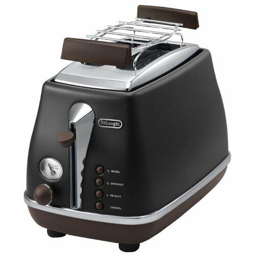 Тостер De'Longhi CTOV 2103.BK Icona Vintag, черный тостер de longhi ctoe 2103 bl icona elements синий