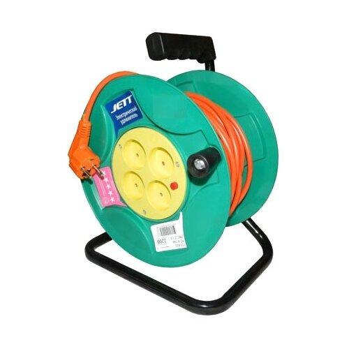 Jett Электрический удлинитель на катушке 4 гн. 50 м (ПВС 2x1,5) 1208470 brennenstuhl удлинитель на катушке garant 40 м прорезинный кабель cablepilot