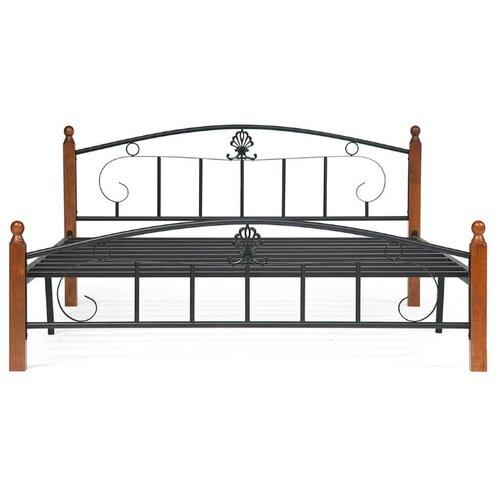 Кровать TetChair RUMBA AT-203 двуспальная, размер (ДхШ): 210х185 см, спальное место (ДхШ): 200х180 см, каркас: массив дерева, цвет: коричневый/черный