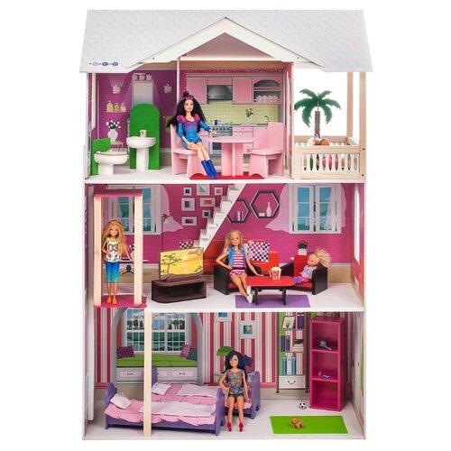 paremo кукольный домик эмилия романья с мебелью pd318 04 розовый голубой PAREMO кукольный домик Сицилия (с мебелью) PD318-15, белый/розовый