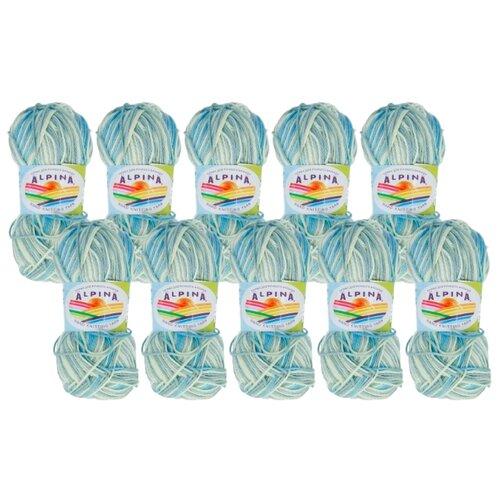 Купить Пряжа Alpina Katrin, 100 % хлопок, 50 г, 140 м, 10 шт., №5335 голубой-св.зеленый-оливковый