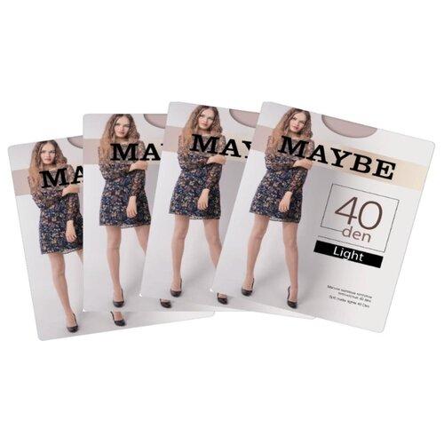 Колготки MAYBE Light 40 den, размер 2, телесный (бежевый), 4 пары колготки maybe 9 months 40 den размер 2 телесный