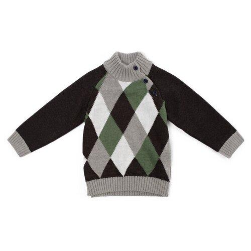 Купить Свитер playToday размер 80, серый/зеленый/белый, Джемперы и толстовки