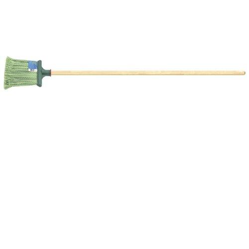 Метла Сибртех распушеная с черенком (63219), зеленый метла синтетическая круглая прима 4 кольца с черенком 120см пластик лайма expert 605369