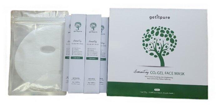 Getitpure набор масок Carborn CO2 Gel Mask Illuminating набор на 5 процедур для эффекта светящейся кожи