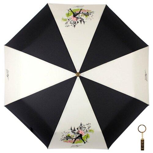 Зонт автомат FLIORAJ Premium Золотой брелок 16022 FJ бежевый / черный зонт автомат flioraj premium золотой брелок кошки черный