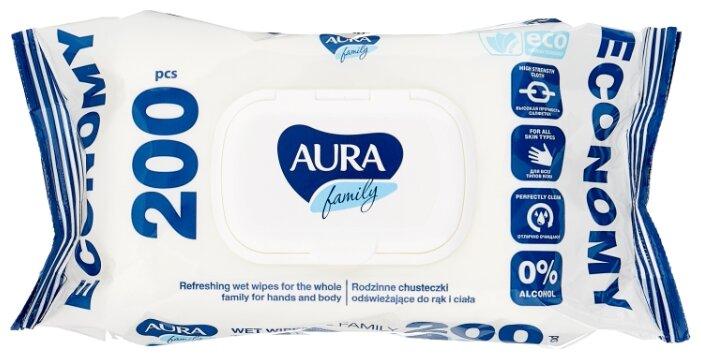 Влажная туалетная бумага Aura 42шт Family